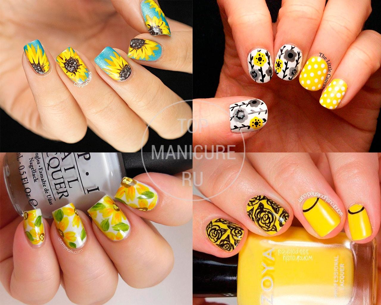 Маникюр с желтыми цветами