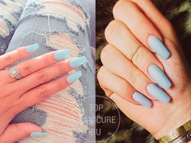 Нежно-голубые ногти