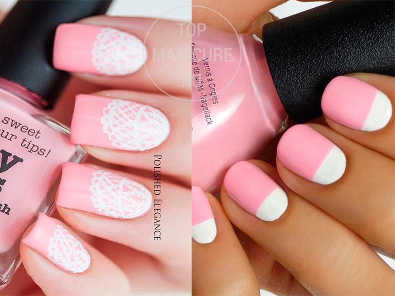 Розово-белый лунный маникюр