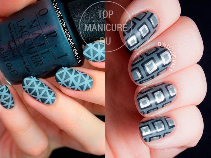 Серый геометрический маникюр