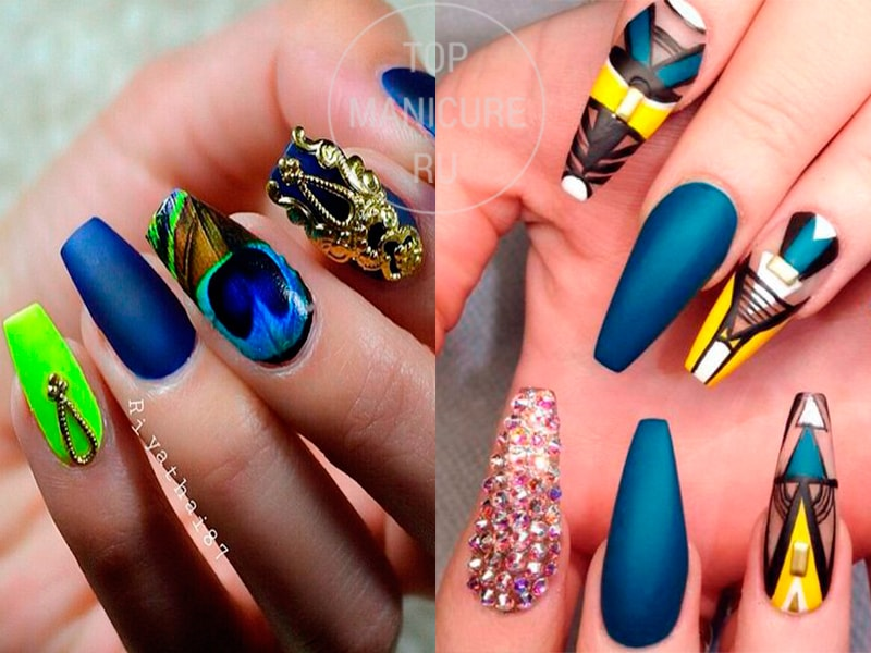 Сине-желтый маникюр на ногтях формы Балерина