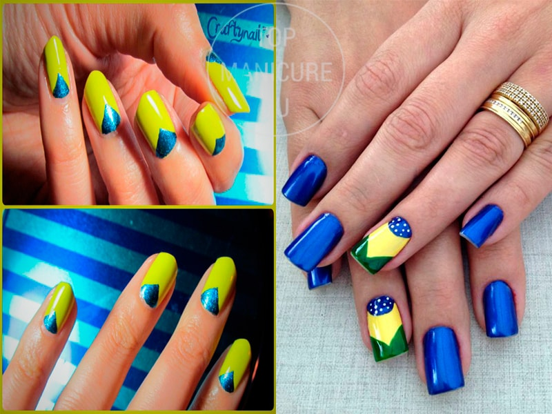 Сине-желтый лунный маникюр с лунками
