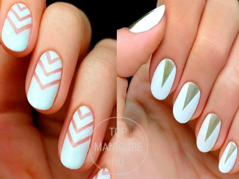 Треугольный маникюр на белых ногтях