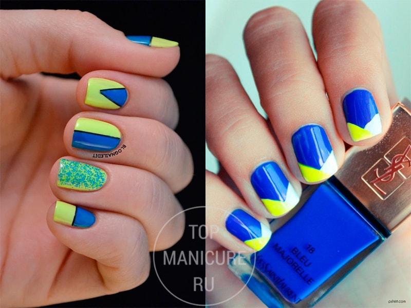 Яркие желто-голубые ногти