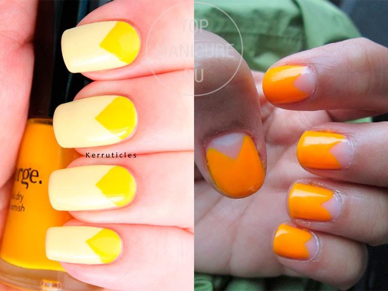 Желтые ногти с треугольными лунками