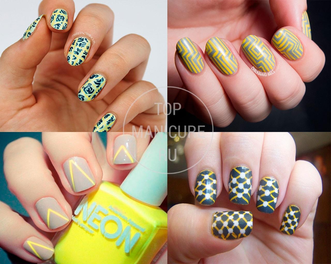 Желтый геометрический маникюр