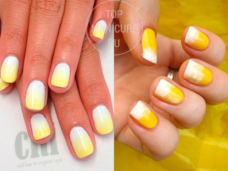 Желтый маникюр градиент с белым лаком