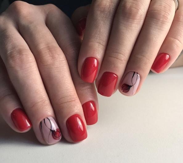 Минимализм на ногтях - цветы