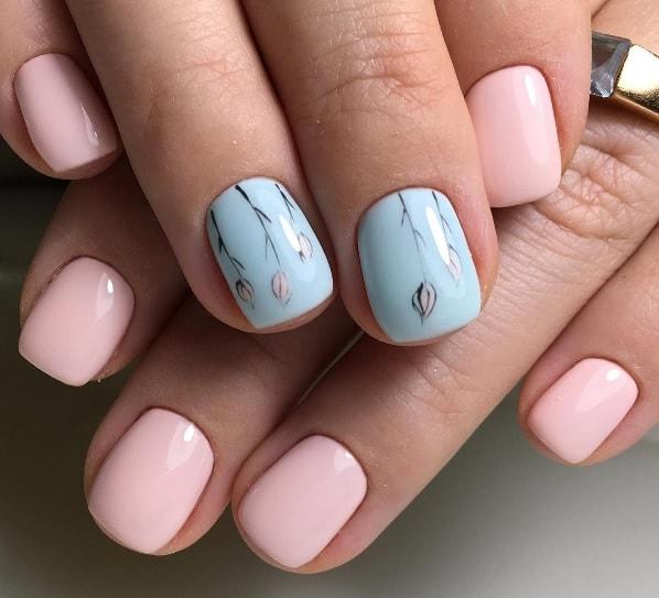 Тонкие веточки на ногтях