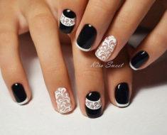 Чёрный френч на ногтях: новинки дизайна, фото