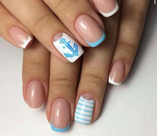 Маникюр с лунками на короткие ногти