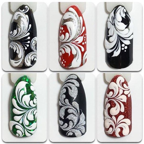 Рисунки на ногтях иголкой - схемы, фото
