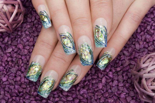 Рисунки на ногтях иголкой