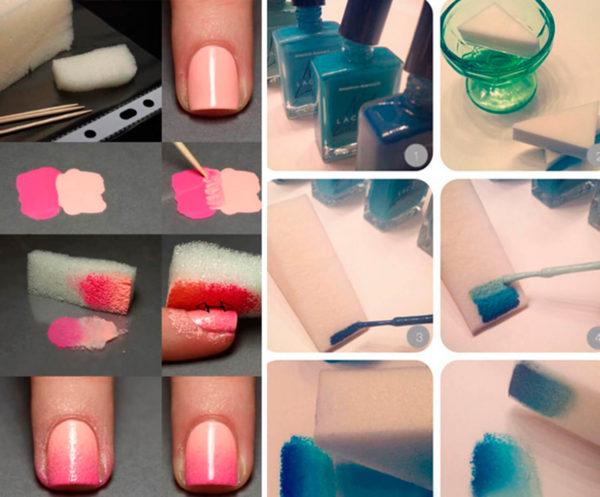 Как сделать градиент на ногтях: гель-лаком