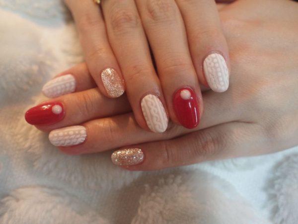 вязка - зимний дизайн ногтей