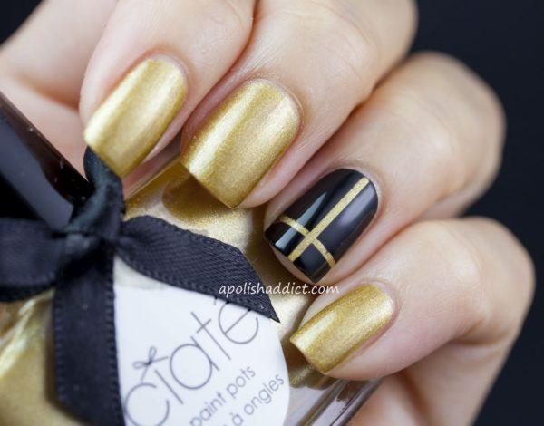 маникюр золотой с черным фото