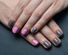 Маникюр серый с розовым: модные идей, фото