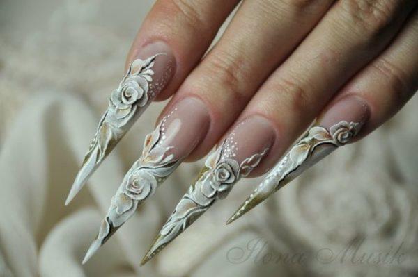 модная форма ногтей стилет