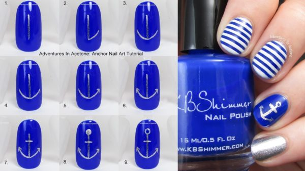 Маникюр синий с белым морской стиль