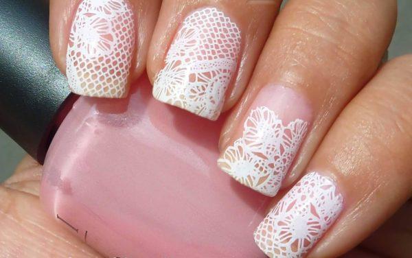 свадебный маникюр на короткие ногти кружево