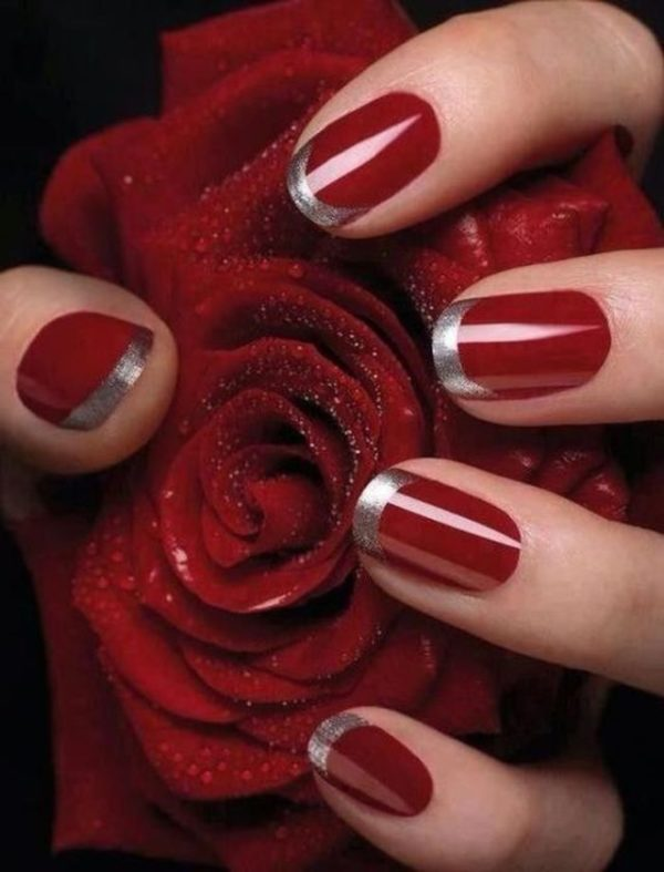 Маникюр красный с серебром фото