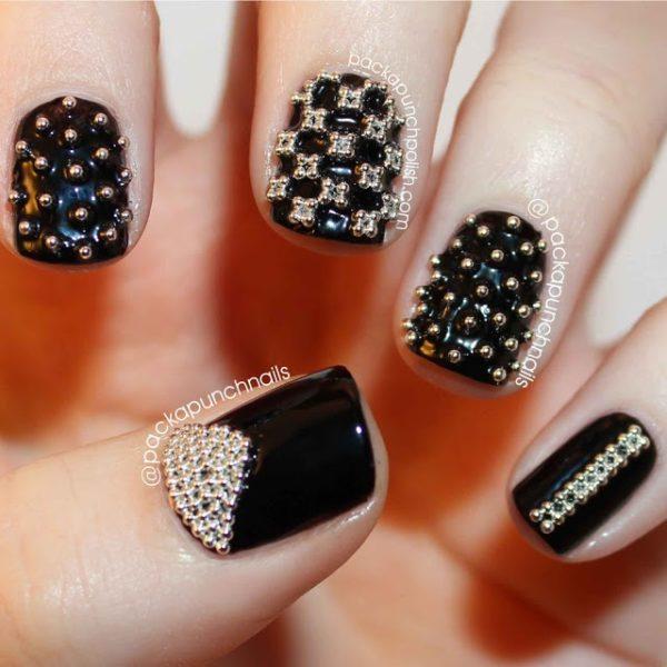 Дизайн ногтей фото черные цветы