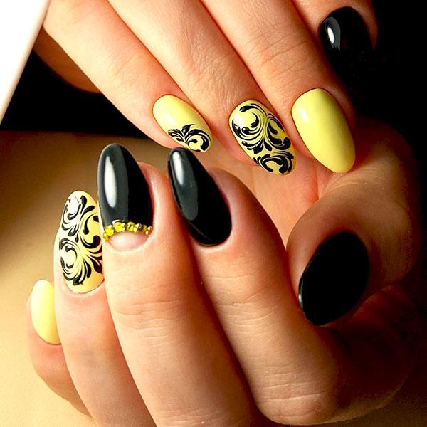 желтые ногти рисунок